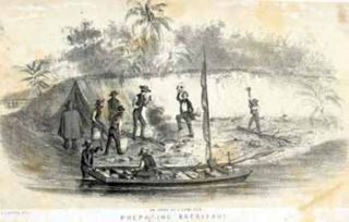 Preparing Breakfast in the Chagres River [Panama]. John after George Victor Cooper Cameron