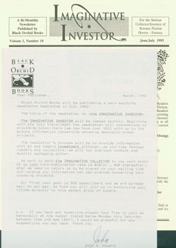 Imaginative Investor. Newsletter with TLS by John R. Howard to Herb Yellin, March 1992. Black Orchid Books, John R. Howard.