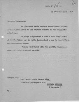 Typed letter, unsigned, from [Gianni] Caproni to Alois Robert Böhm. Aeroplani Caproni