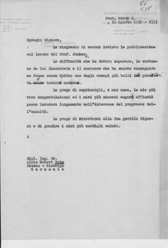 Typed letter, unsigned draft, from [Gianni] Caproni to Alois Robert Böhm. Aeroplani Caproni