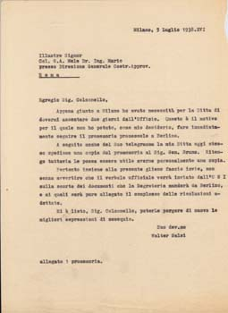Typed letter (draft) from Walter Salsi, Milan, Italy to Colonello G. A. Mele. Aeroplani Caproni