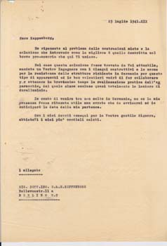 Typed letter from unknown correspondent (perhaps Gianni Caproni) to E. H. H. Koppenberg,...