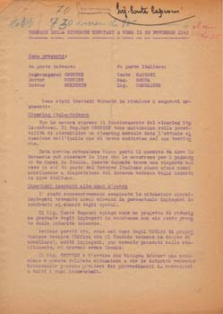 "Typed letter signed. ""Minutes of the Meeting Held in Como on November 20, 1943."" Aeroplani Caproni"