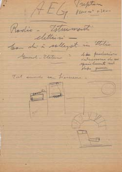 Two drawings with handwritten notations. Aeroplani Caproni